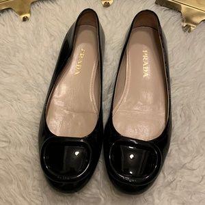 Prada Black Patent Ballerina Flats Near New